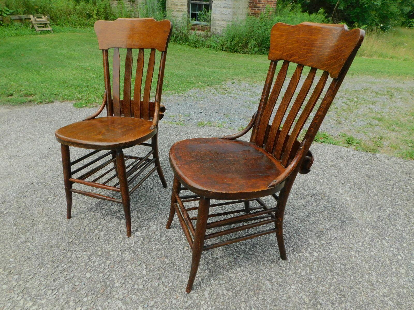 Pair 1890s Antique Solid Quartersawn Oak Windsor Book Shelf Desk Office Chairs - $475.00