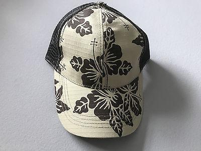 BASEBALL CAP UNISEX BY GEAR FLOWER DESIGN KHAKI BROWN BLACK ONE SIZE FITS ALL