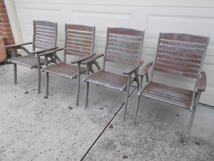 Outdoor Furniture Timber & Cast Alloy Armchairs Director Chairs