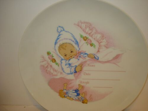 Porcelain baby plate can be personalized cute Baby Girl w/ Doll
