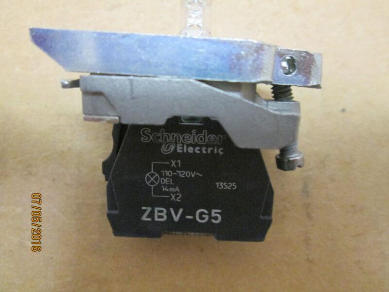NEW, TELEMECANIQUE ZB4BVG5 LED LIGHT W MOUNTING COLLAR (AMBER), 120V AC.