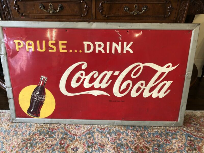 "Vintage Coca Cola Sign 1947 56"" X 32"" Embossed"