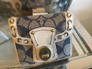 COACH Navy Canvas Signature Wallet With Leather Trim