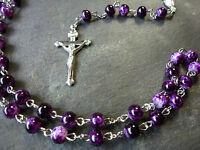 Oscuro Púrpura Mármol Estilo 6mm Cuentas Rosario Collar De Perlas Cristiano -  - ebay.es