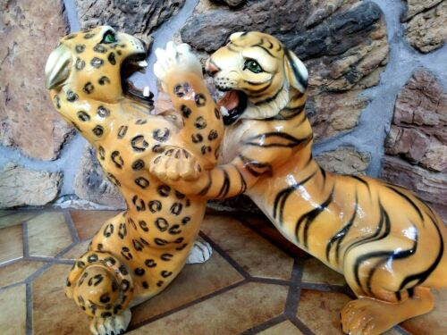 LEOPARD AND TIGER, FIGHTING-- HUGE 24x14 inch, DRAMATIC MARWAL SCULPTURE, NM
