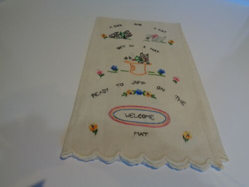 vintage hand embroidered linen SCOTTIE DOG & cat guest towel RARE & amazing LQQK
