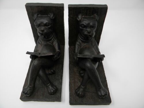 BOXER Dog Dark Brown Bookends