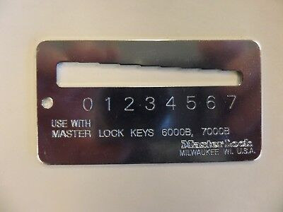 Master Padlock 0290-0373 Key Gauge For Master 6000b 7000b Keys Rekeying Tool