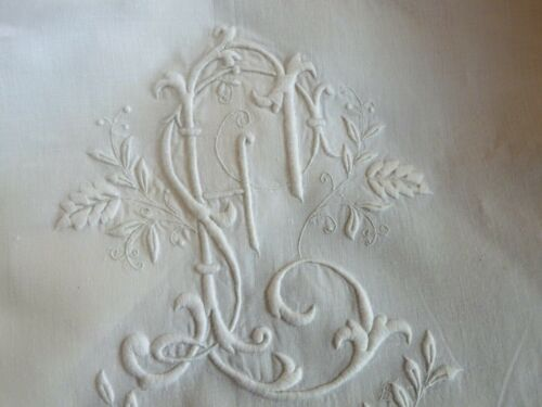 Magnificent Antique FRENCH Embroidery Monogram Linen Sheet Pillow Sham