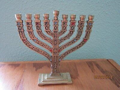 Jewish Candle Holder Menorah HANUKKAH Chanukah Holiday Brass JERUSALEM