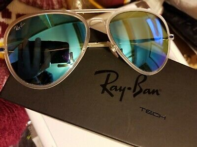 RayBan Aviator Light Ray RB 4211 Matte Clear Frame Transparent Blue Chrome