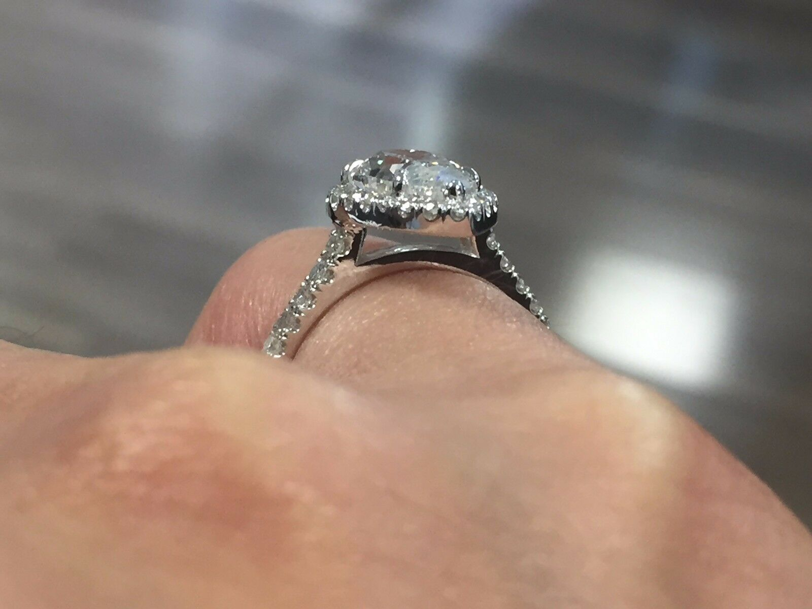 1.60ct Natural Pear Halo Pave Diamond Engagement Ring - GIA Certified 1
