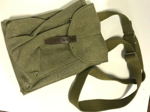 Original Russian Army Pouch 4 mags canvas Tan Leather strap parts new 1970