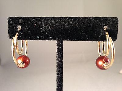 HONORA CULTURED PEARL POTATO DOUBLE HOOP EARRINGS, CHOCOLATE BROWN, 14K (P5) 14k Double Cultured Pearl Earring