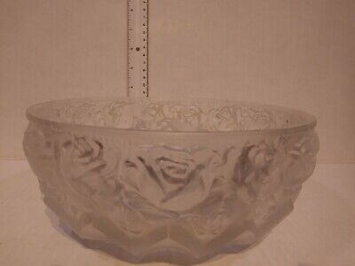 Vintage Frosted Glass Bowl With Roses