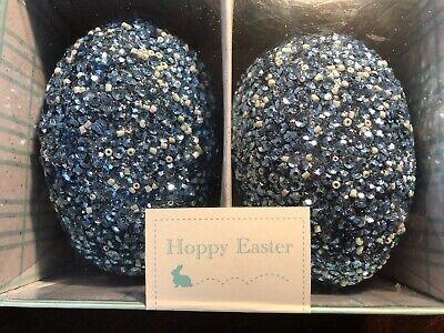 SET OF TWO HOPPY EASTER BEADED BLUE EASTER EGGS NEW](Blue Easter Eggs)