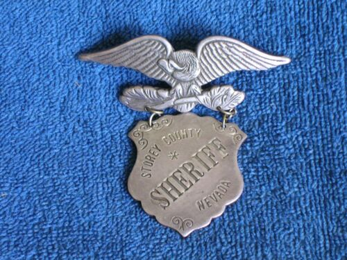 Antique Storey County Nevada Sheriff Sweetheart Badge Shield Medal & Eagle Pin