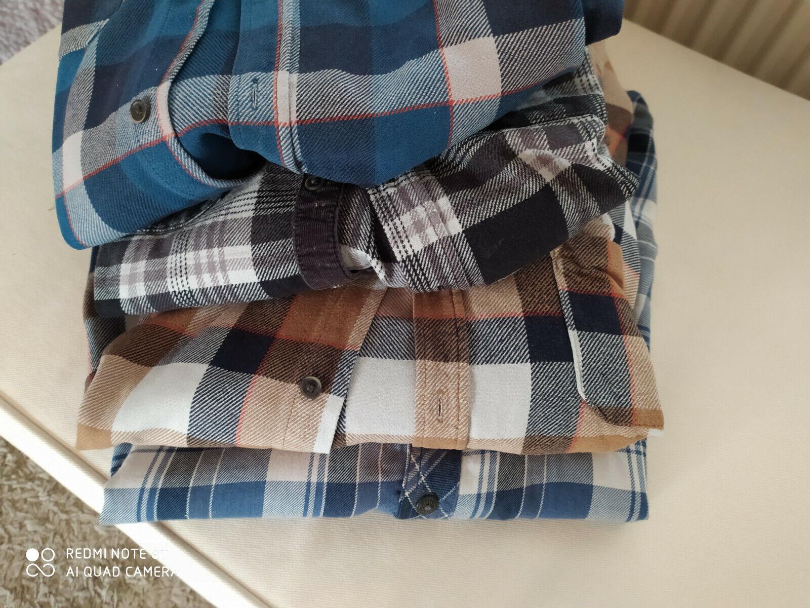 Herrenhemden 4 Karohemden Flanellhemden Arbeitshemden 3 xl