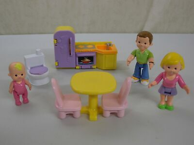 J0236 Mom Dad Baby Kitchen My First Dollhouse People Furniture Lot Fisher Price