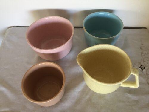 Set 3 Vintage Bauer Pottery Mixing Bowls Speckled plus handle pouring bowl