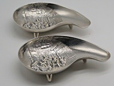 Hejl Co Pair Danish Silver Compote Dishes Repousse Marked Whale By Hans Jensen