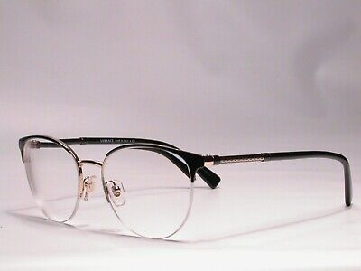 Authentic Versace Luxury Black and Gold Designer Fashion Frame Eyeglasses Italy