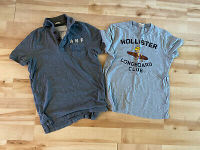 Boys Lot Of 2 Tops Abercrombie & Fitch & Hollister Sz M/L Gray Tee & Polo