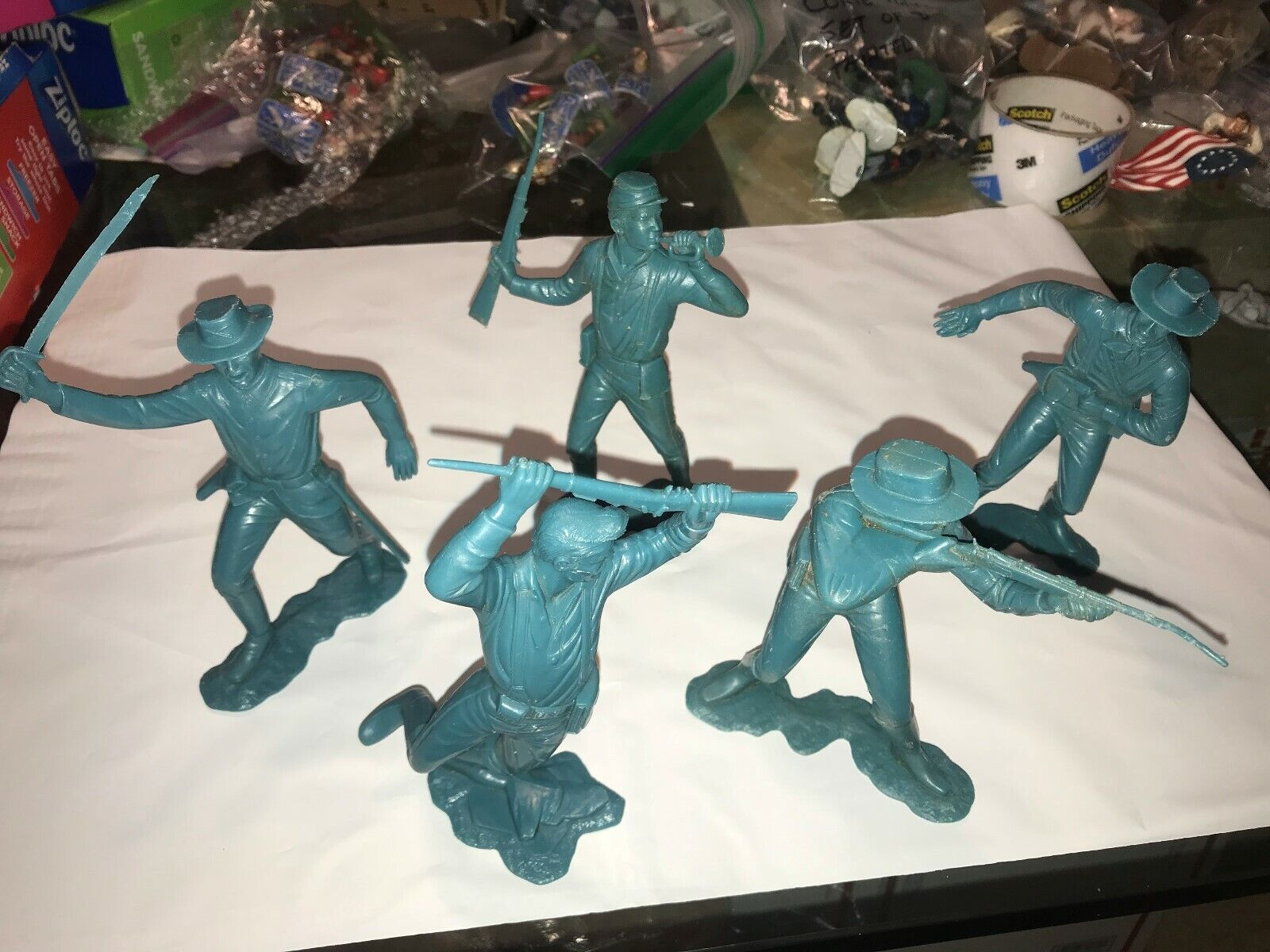 MARX SIX INCH VINTAGE CAVALRY SOLDIERS SET OF FIVE (5) VERY RARE 1963