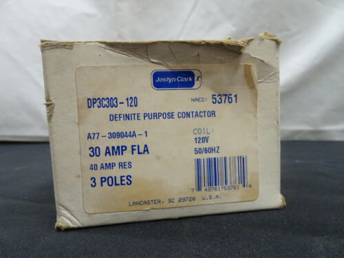 NEW, JOSLYN CLARK, DP3C303-120, DEFINITE PURPOSE CONTACTOR