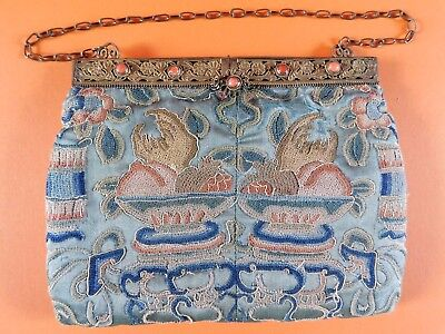 ANTIQUE CHINESE EMBROIDERED SILK BAG / PURSE, GILT METAL AND CORAL BEAD CLASP