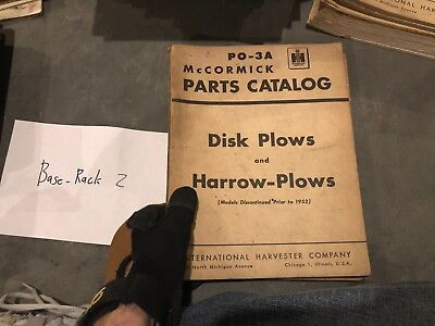 Mccormick Parts Catalog International Harvester Po-3a Disk Harrow Plows 1951 Vtg