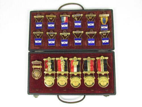 WOODMEN OF THE WORLD Ribbon Badge Metal WOW Set RARE Fraternal Badges Antique