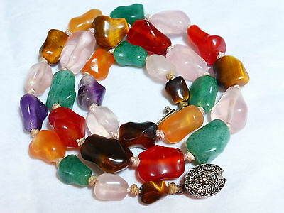 VINTAGE CHINESE JADE, CARNELIAN, AMETYST, QUARTZ, TIGER EYE BEAD NECKLACE