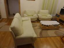 Cream  Leather Lounge Set- Greystanes Parramatta Area Preview