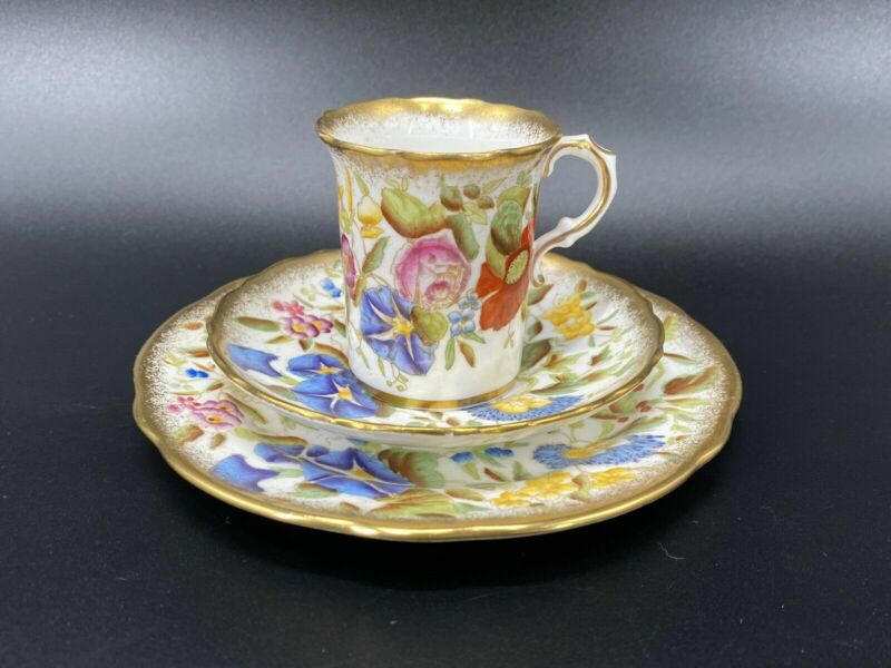 Hammersley Queen Anne Demitasse Coffee Cup Saucer Set Bone China England
