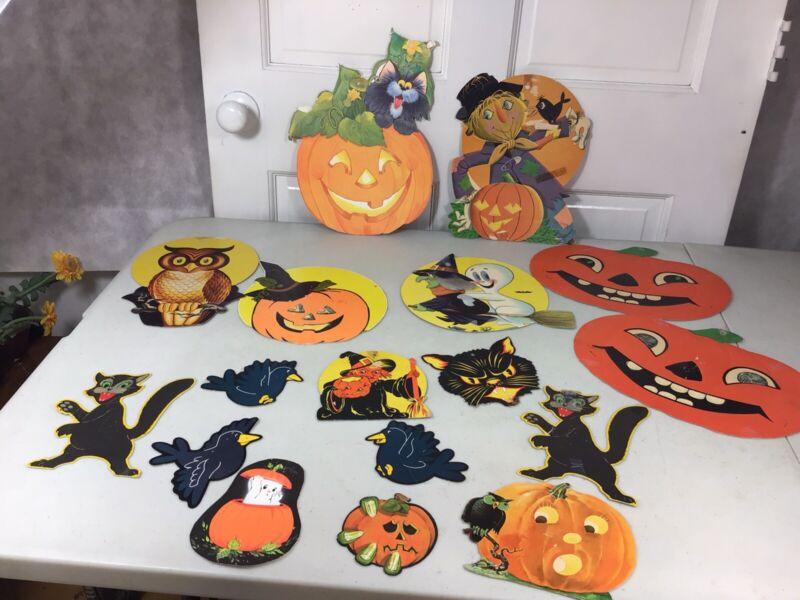 Vintage Halloween Cardboard Cutouts Decorations Set of 17
