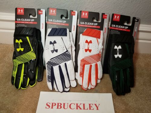 UA UNDER ARMOUR CLEAN UP YOUTH BASEBALL BATTING GLOVES, NWT, PAIR, 1299531