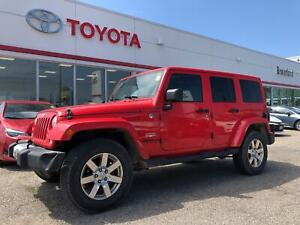 2015 Jeep WRANGLER UNLIMITED Sahara, Leather, One Owner, Red Top