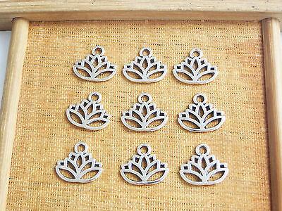 20 x Lotus Flower Head Meditation Yoga Tibetan Silver Charms Pendants Beads (Yoga Charms)