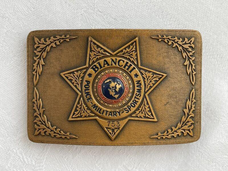 Vintage Bianchi Police Military Western Pistol Brass Belt Buckle Rare Style Mark