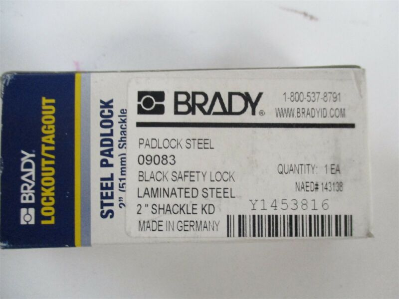 "Brady 143138 Different-Keyed Padlock 2"" Extended Shackle Type Black"
