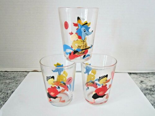 3 Vintage Arcoroc Wolf & Duck Juice Glasses Made in France