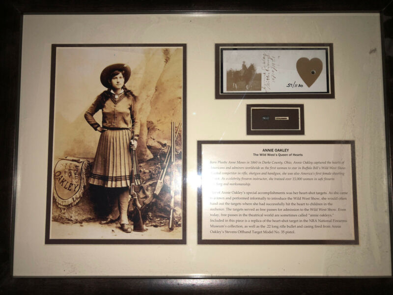 Annie Oakley Framed Target And Bullet Along With Storage Box