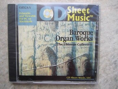 Sheet Music CD - printable Baroque Organ Works  *NEW* shrink wrapped for sale  Shipping to United States