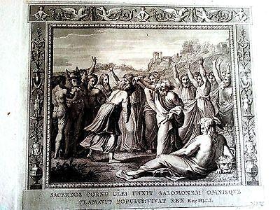 Raffaello Sanzio steel plate hand pulled original God saved Solomon