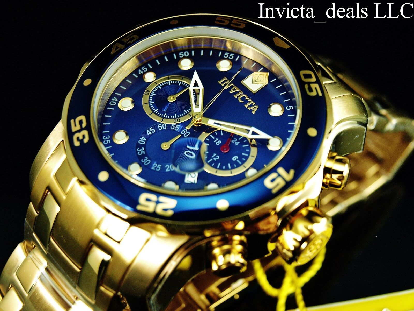 Invicta Mens 48mm Pro Diver Scuba Chronograph 18KT Gold Plated Blue Dial Watch