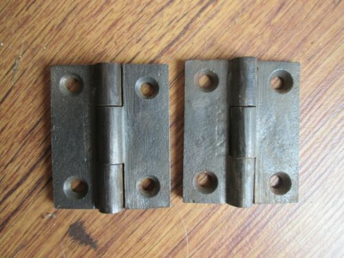 Pair Small Old Cast Iron Cabinet Door Butt Hinges c 1850s 2 x 1 5/8""