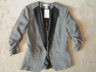 WOMENS H&M GRAY 3/4 SCRUNCH SLEEVE BLACK TRIM LINED BLAZER SIZE 6 US 36 EUR NWT