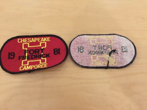 boy scout VINTAGE, patch,chesapeake camporee,fort frederick NOS,dated 1981
