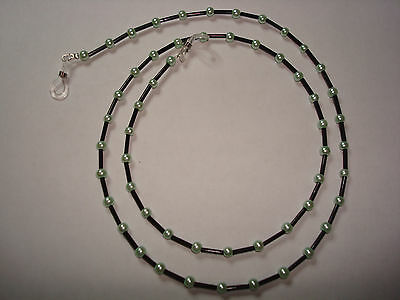 """Handmade Pearl Glass Mint Green Beads & Black Spacers Spectacle Chain Length 28"""""""